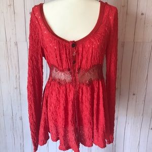 FREE PEOPLE lace detail, coral, button blouse